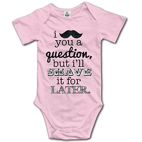 Baby Infants 100% Cotton Short Sleeve Onesies Toddler Bodysuit I Really Mustache You A Question Climbing Clothes Pink Size 12 (Kim Possible Mustache)