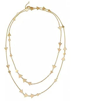 Dot & Line Long Station Necklace, Geometrical Triangle Chevron, Gold/Silver long Necklace (Gold)