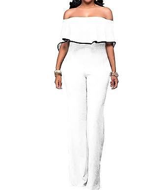LAEMILIA Combinaisons Maxi Femme Bandeau Bodysuit Jumpsuit Pantalons  Automne Casual Épaule Dénudée Sexy Slim Plage Cocktail 1cf8e3c6305f