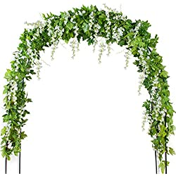 Mavee 4 Pcs 7.2 Feet Artificial Flower Vine Silk Wisteria Garland Hanging Rattan with Ivy Leaf for Wedding Home Decor (White)