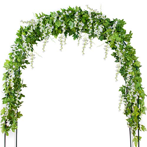 Mavee 4 Pcs 7.2 Feet Artificial Flower Vine Silk Wisteria Garland Hanging Rattan with Ivy Leaf for Wedding Home Decor (White) -