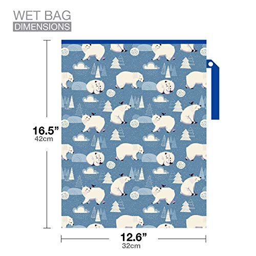 51lftFCuasL - FLOCK THREE Waterproof And Reusable Wet Bag Diaper Stroller Water Resistant Swimsuit Travel Toiletries Yoga Gym Washable Carrier Polar Bear Large 12.6'' X 16.5''