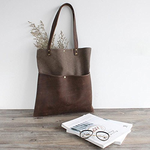 Handmade Waxed Canvas and Leather Tote Bag Women's Handbag Casual Satchel