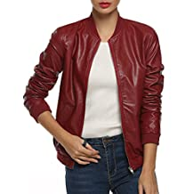 ACEVOG Women's Quilted Biker Bomber Zipper Faux Leather Moto Coat Jacket