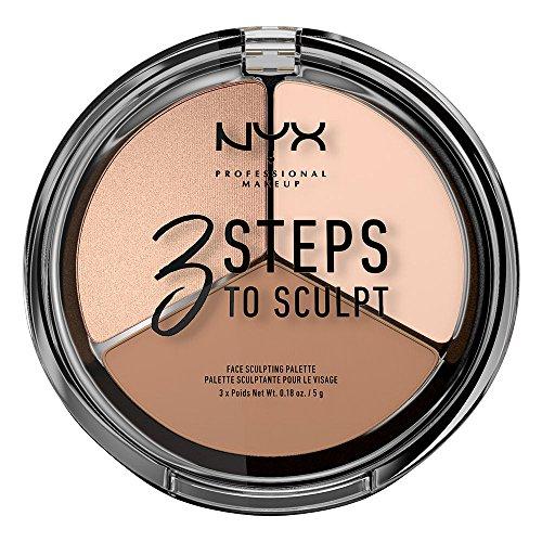 Face Makeup Steps (NYX PROFESSIONAL MAKEUP 3 steps to sculpt face sculpting palette, fair, 0.54)