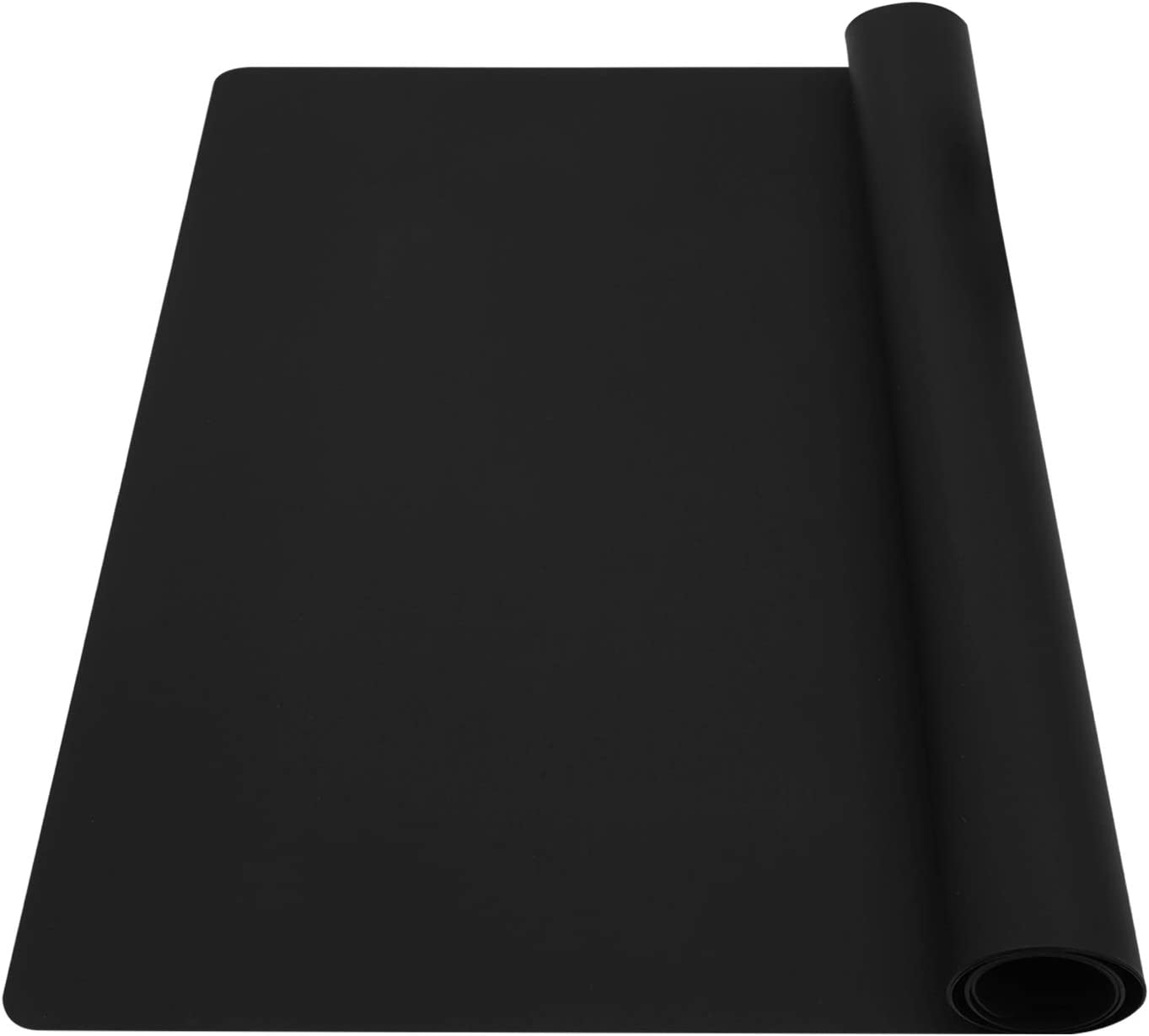 wellhouse Extra Large Silicone Baking Mat Pastry Mat Countertop Protector Clay Mat No-slip Non Stick Waterproof Heat Resistant Silicone Placemats Table Mat 23.6 by 15.7 inch(Black)