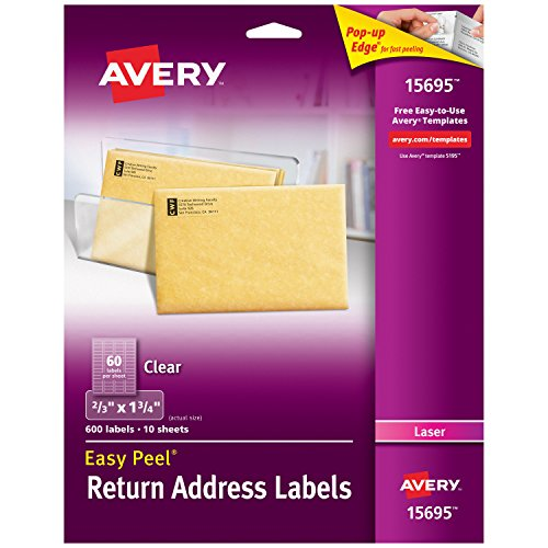 "Avery Clear Easy Peel Return Address Labels for Laser Printers 2/3"" x 1-3/4"", Pack of 600 (15695)"