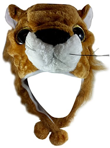 Critter Cap Big Eye Plush Animal Hat with Ear Flaps That Button Under the Chin (Leo Lion) (Bomber Bag Flap)