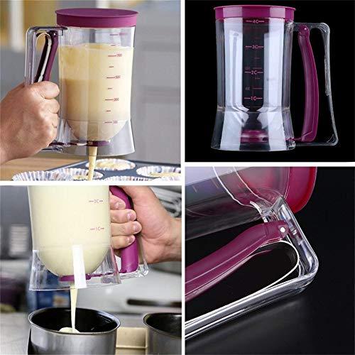 Mazhar 900 ml Cupcake Pancake Cake Cream Cake Mixer Dispenser Brocca Baking Essentials Maker Strumenti di Cottura Imbuto Misurino Trasparente e Rosa Rossa