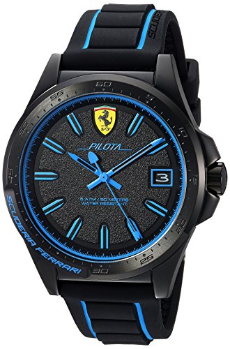 Ferrari Men's 'Pilota' Quartz Stainless Steel and Rubber Casual Watch, Color:Black (Model: 830423)