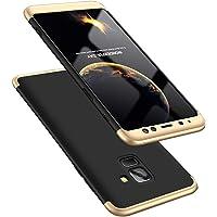 """Kit Capa Capinha Anti Impacto 360 Full Para Samsung Galaxy A8 Plus A8+ Com Tela 6.0"""" Polegadas - Case Acrílica Fosca Com Película De Vidro Temperado - Danet (Preto com dourado)"""