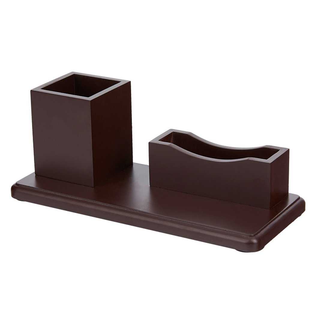 Desktop Organizer,GREATRULY Multifunctional Wooden Office Home Pen Holder Desk Stationery Storage Box Collection Caddy For Business Card / Pen / Pencil / Cell Phone / Remote Control (Dark Brown)