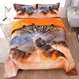 Beddinginn A Lone Wolf Howling in The Wilderness Tencel Cotton 3-Piece Comforter Sets