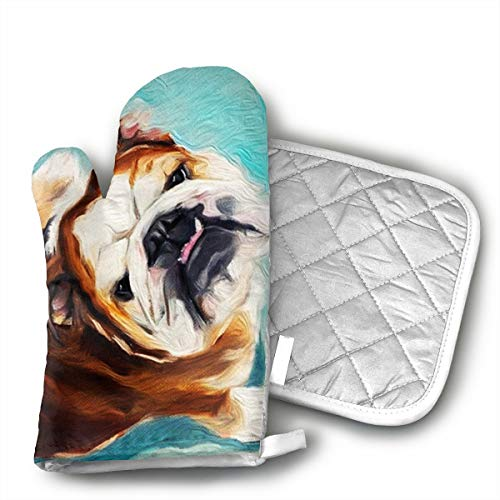 Cute Bulldog Oven Mitts and Pot Holders Set