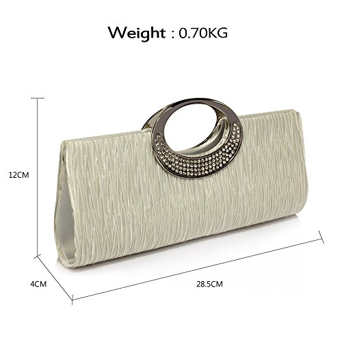 Rhinestone Clutch For Ladies Bag Handbag Evening club Ivory Wedding Pleated Party 1 Diamante Satin Womens Design 85pwqtx