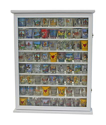 - Large 72 Shot Glass Display Case Cabinet Rack Holder-Glass Door, Mirror Back (White Finish)