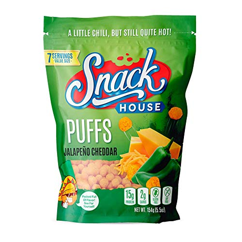 Snack House High Protein Low Carb Keto Snacks, Gluten Free Healthy Protein Puffs - No Sugar Added, Savory Diet Food for Adults and Kids, Jalapeño Cheddar, 7 Servings 1