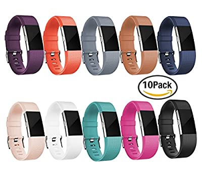GEAK Fitbit Charge 2 Bands, Replacement Accessory Band For Fitbit Charge 2, Classic Wristband with Secure Silicone Fasteners Metal Clasps for Fitbit Charge 2