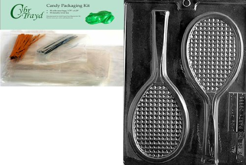 (Cybrtrayd Mdk50-S031 Tennis Racquet Sports Chocolate Candy Mold, Includes 50 Cello Bags, 25 Gold and 25 Silver Twist Ties)