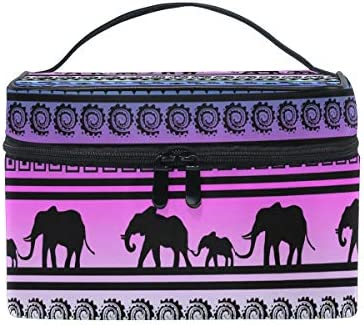 Makeup Bag, Elephant Indian Pattern Print Cosmetic Toiletry Storage Organiser Large Travel Handle Personalised Pouch with Compartments for Teenage