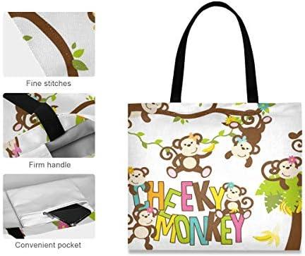 XiangHeFu Grande capacité mode décontractée mignon fille singes fleur sac à main transporter sac fourre-tout réutilisable