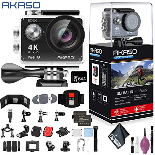 AKASO EK7000 4K WiFi Sports Action Camera Ultra HD Waterproof DV Camcorder 12MP 170 Degree Wide Angle - 64GB - Memory Card Wallet - Card Reader