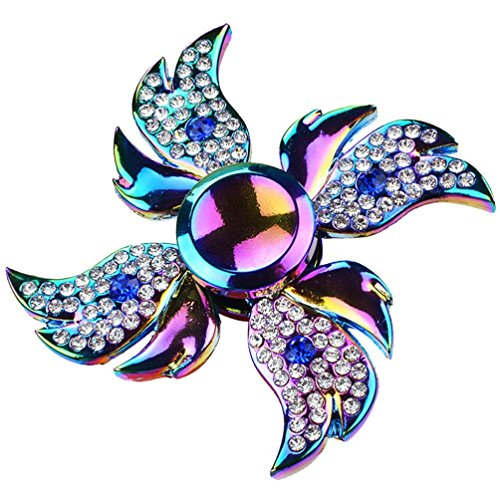 Price comparison product image Spinner Fidget,GOODCULLER Four Leaves Angel Crystal Fidget Spinner Single Finger Decompression Gyro Hand Spinner High Performance Fast Shipping For Killing Time, Helping Relieve Stress