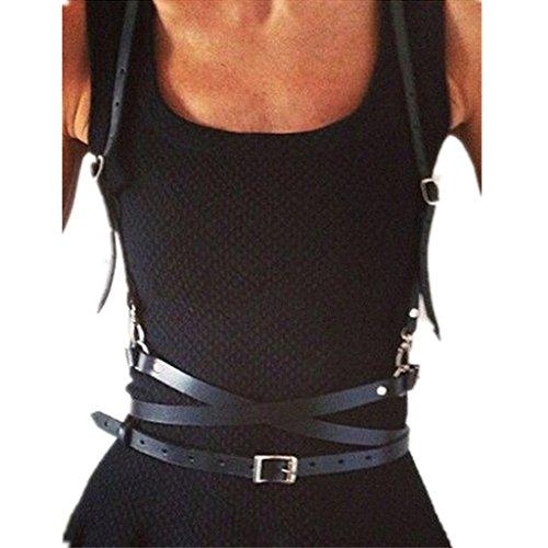 iEFiEL Women Faux Leather Punk Adjustable Body Chest Harness Waist Belt Straps Suspenders Belt