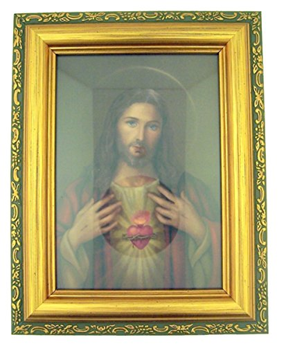 Italian Lithograph Sacred Heart of Jesus Print in Antique Gold Tone Frame with Glass, 6 1/2 Inch