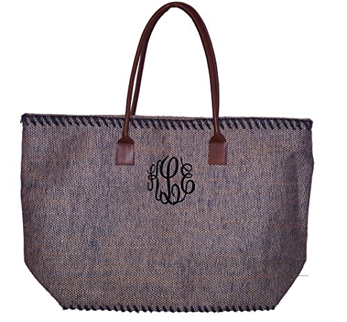 101 BEACH Large Jute Tote Bag - Custom Embroidery Available (Brown - Monogrammed)