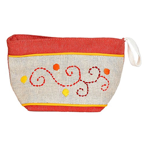 Madaraff Hand Embroidered Cotton Vanity Cosmetics Bag Large - Red by Madaraff (Image #1)