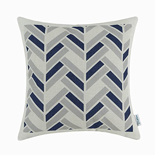 CaliTime Canvas Throw Pillow Cover Case for Couch Sofa Home Decoration Modern Striped Chevron Zigzag Geometric 18 X 18 Inches Grey Navy