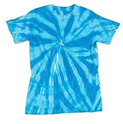Bright Neon Blue Pinwheel Youth Unisex Big Boys Big Girls Tie Dye T-Shirt Tee - Boys Blue Tie Dye