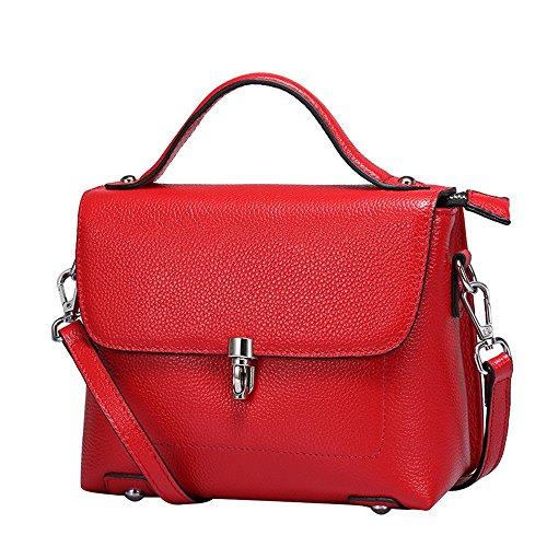 Simple Retro Lock Limousine Carré Sac à bandoulière en Cuir Carré Messenger Bag, Rouge Loisirs