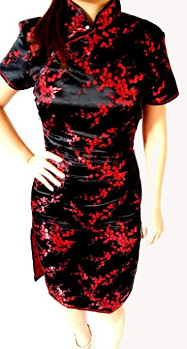 Knee Length Chinese Women's Asia Miss Design Geisha Qipao Dress Cosplay 2 Black/Red - Fancy Dress Geisha