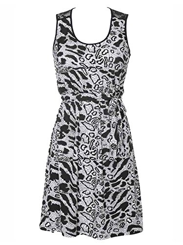 Black & White Animal Print Empire Waist Sleeveless Dress With Lace Back Size (Animal Print Empire Dress)
