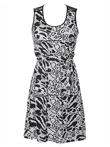 Black & White Animal Print Empire Waist Sleeveless Dress With Lace Back Size (Animal Print Empire Dress)