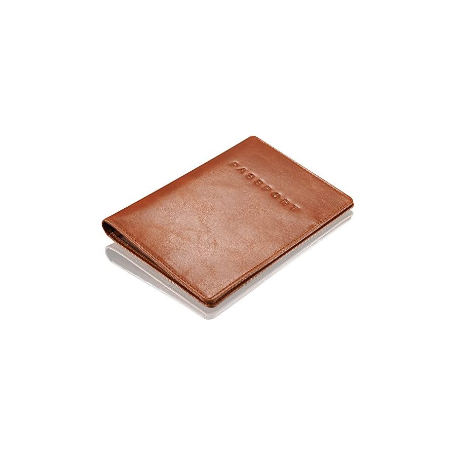 "KAVAJ Leather Passport Holder Case""Rome"" cognac RFID Blocking Cover Wallet Genuine Leather Women Men"