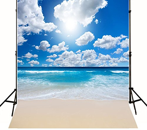 Personalized Photo Booth Backdrop (L2G 5X7ft Beach Backdrops Blue Sky Seaside Wedding Theme Background No Wrinkle)