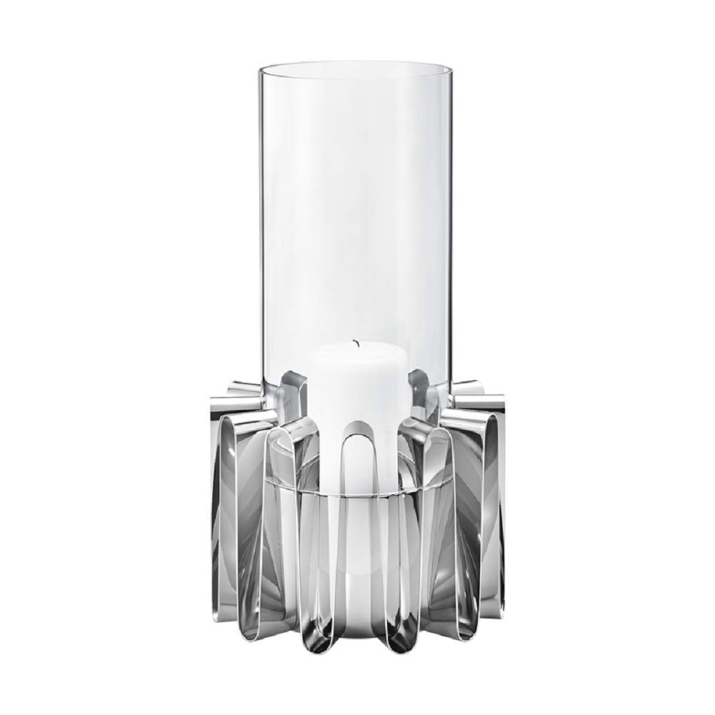 Georg Jensen Frequency Hurricane Lantern, Stainless Steel & Glass, by Kelly Wearstler (Large)