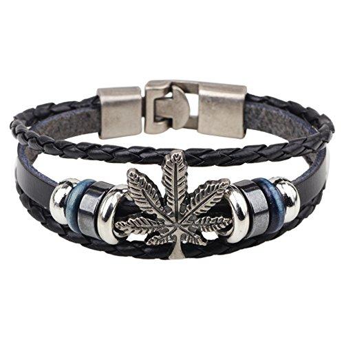 Price comparison product image Diamondo Bangle Cuff Bracelet Men Women Multilayer Punk Rock Alloy Leather Wrist Wrap (E)