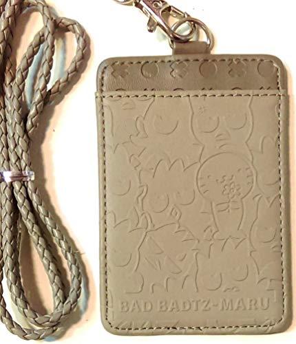 (Bad Badtz-Maru Embossed Faux Leather 2-Slots ID Card Badge Holder Pass Case Lanyard)