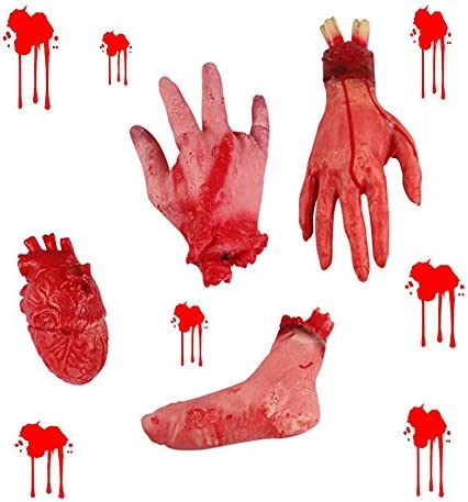 Cut Off Leg Halloween Prop Haunted House Home Haunt Realistic Body Parts Bloody