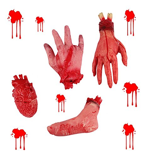 Fashionclubs Halloween Terror Severed Hand Leg Heart Props Set, Fake Bloody Scary Chopped Body Part Horror Haunted Halloween Decoration Prank Props