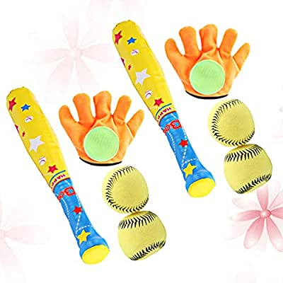 LIOOBO 2 Sets Kids Sports Toys Baseball Palying Tool Kit Educational Toy Glove Ball Baseball Bat Set for Park Daily Festival Shop: Toys & Games