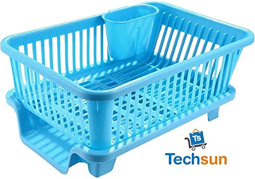 TS WITH TECHSUN 3 in 1 Large Sink Set Dish Rack Drainer Drying Rack Washing Basket with Tray for Kitchen, Dish Rack Organizers, Utensils Tools Cutlery (Blue) Price & Reviews