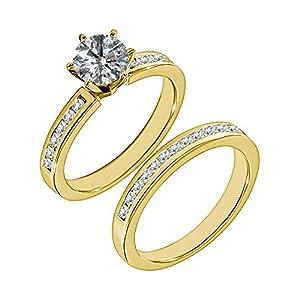 1.59 Carat G-H I2-I3 Diamond Engagement Wedding Anniversary Halo Bridal Ring Set 14K Yellow Gold