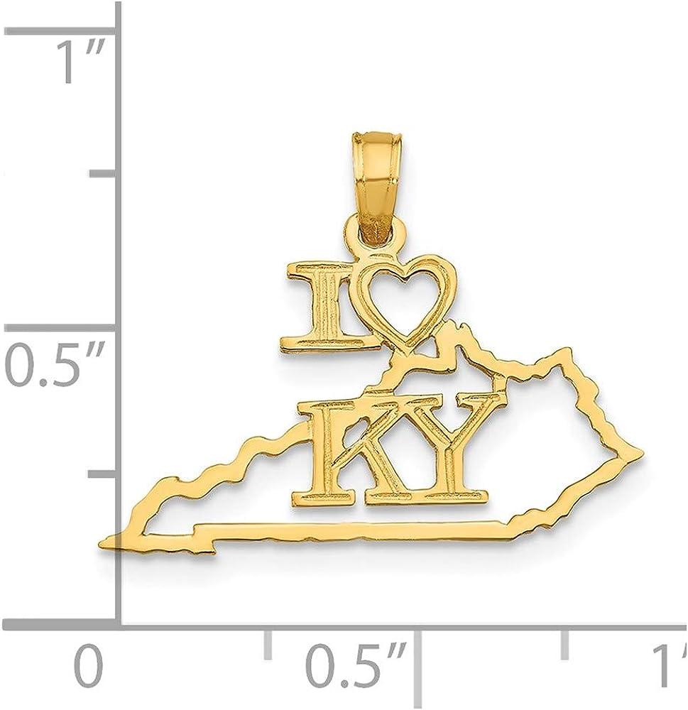 14K Yellow Gold Kentucky State Pendant
