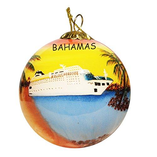 - Art Studio Company Hand Painted Glass Christmas Ornament - Cruise Ship Bahamas