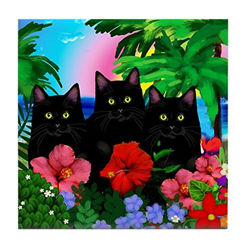 CafePress - Black Cats Tropical Sunset Tile Coaster - Tile Coaster, Drink Coaster, Small Trivet ()